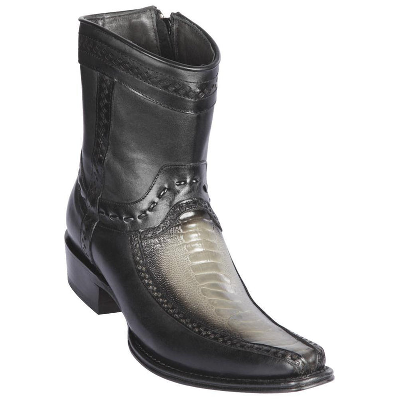 Los Altos Boots Mens #76BF0538 Low Shaft European Square Toe | Genuine Ostrich Leg And Deer Boots | Color Faded Gray