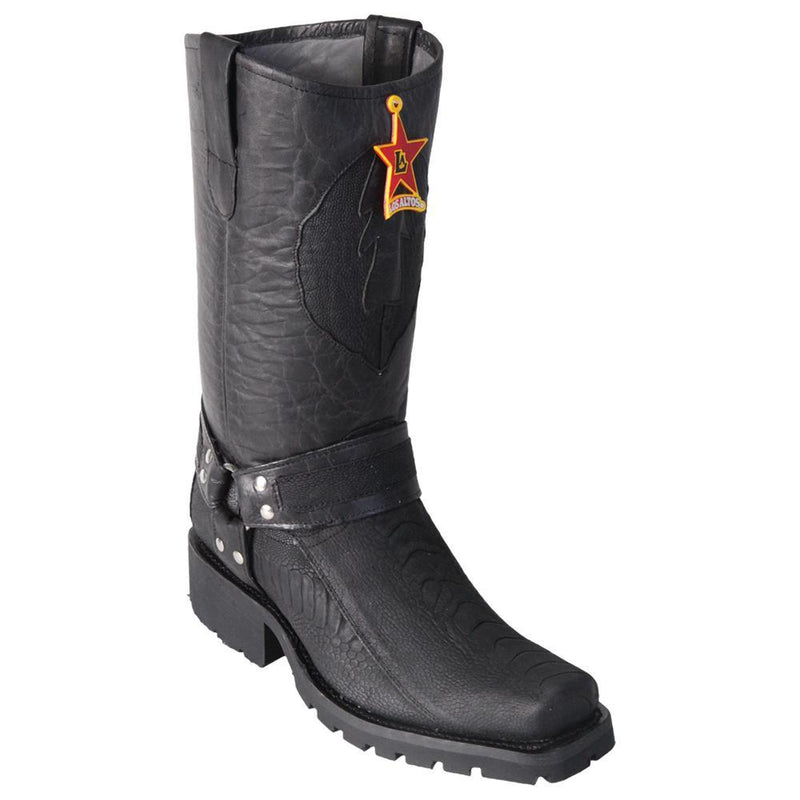 Los Altos Boots Mens #55TG0505 Biker Boot | Genuine Ostrich Leg Leather Boots | Color Black | Greasy Finish