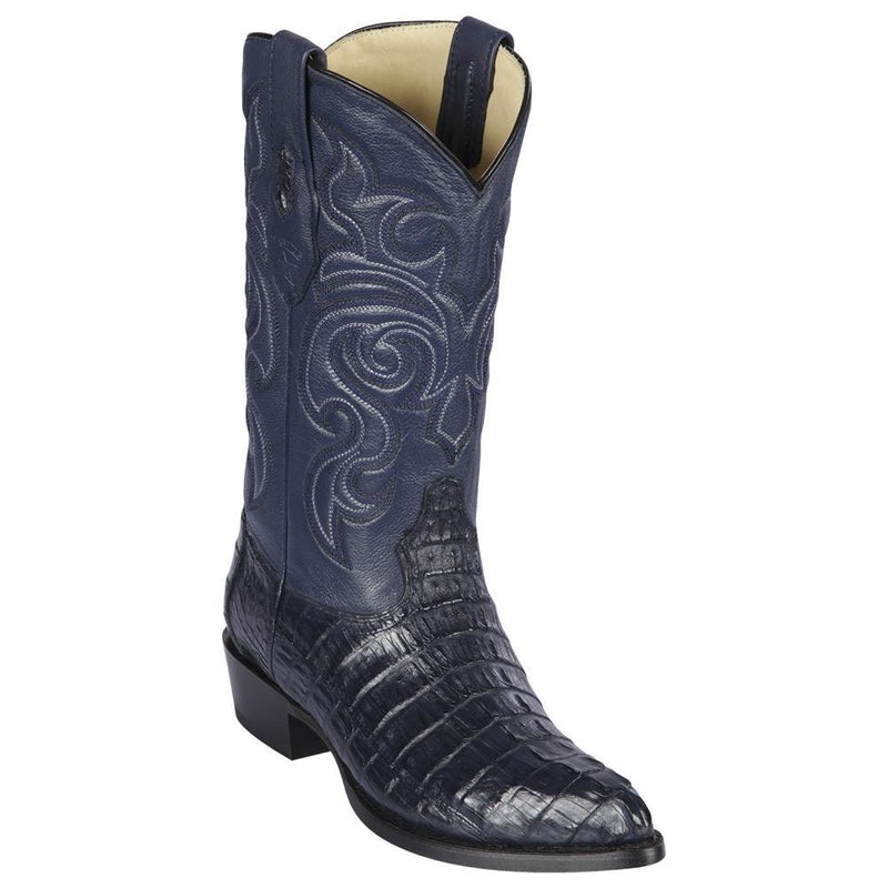 Los Altos Boots Mens #990110 J Toe | Genuine Caiman Tail Boots | Color Navy Blue