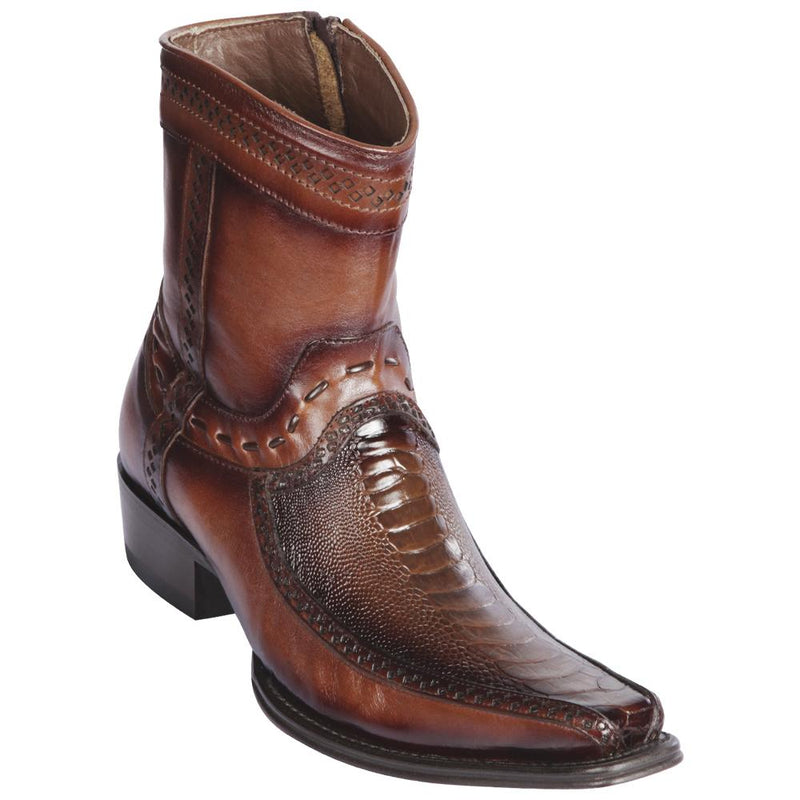 Los Altos Boots Mens #76BF0516 Low Shaft European Square Toe | Genuine Ostrich Leg And Deer Boots | Color Faded Brown