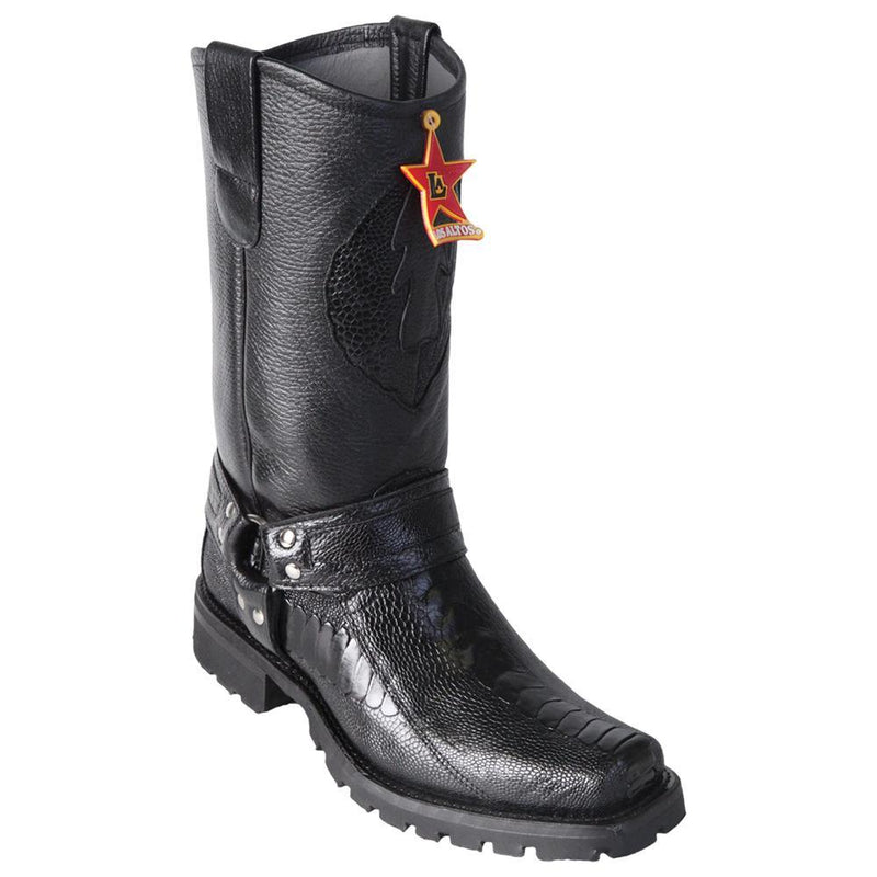Los Altos Boots Mens #55T0505 Biker Boot | Genuine Ostrich Leg Leather Boots | Color Black