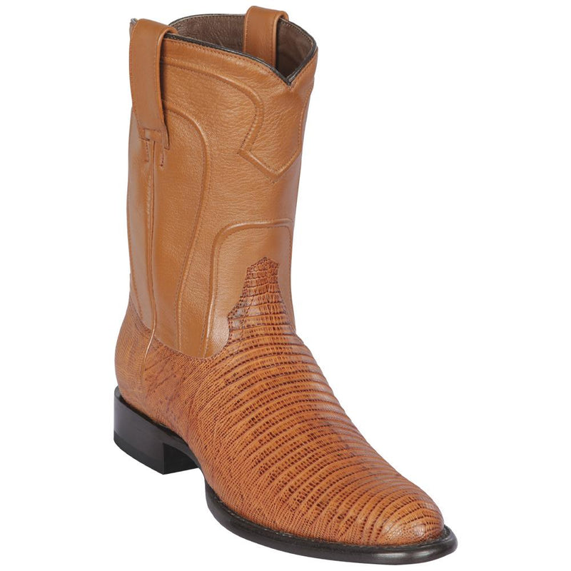 Los Altos Boots Mens #690751 Roper Style | Genuine Lizard Skin Boots Handcrafted | Color Honey