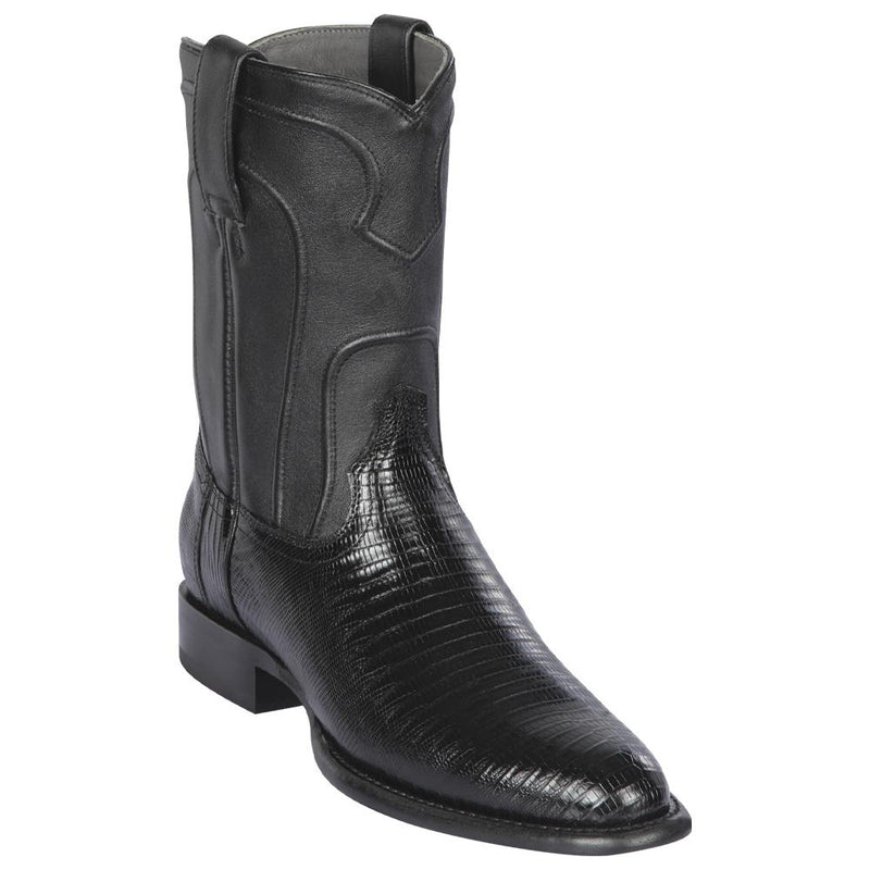 Los Altos Boots Mens #690705 Roper Style | Genuine Lizard Skin Boots Handcrafted | Color Black