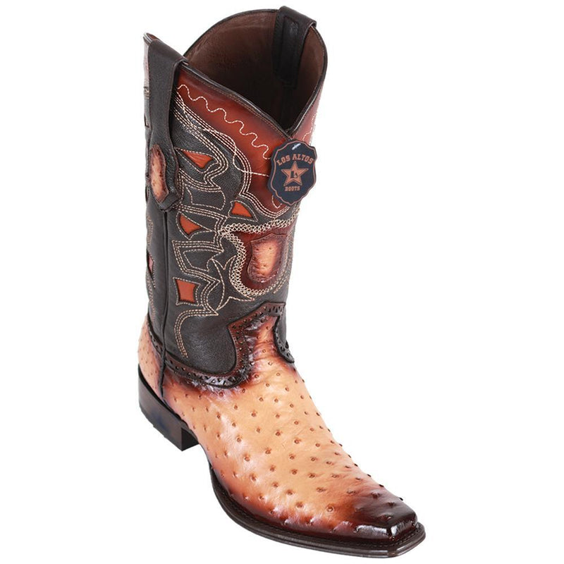 Los Altos Boots Mens #760315 European Square Toe | Genuine Full Quill Ostrich Boots | Color Faded Oryx