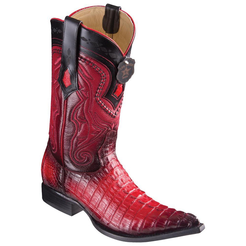 Los Altos Boots Mens #9530129 3X Toe | Genuine Caiman Belly Leather Boots | Color Faded Red