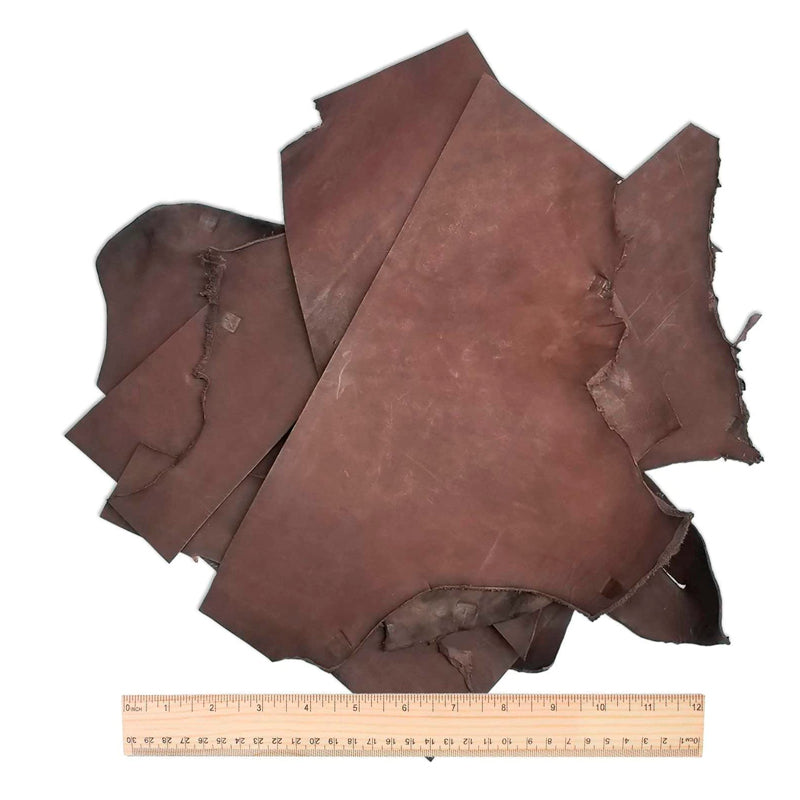 5 Pounds of Large, Usable Rich Havanna Brown Sheath and Holster Leather Pieces