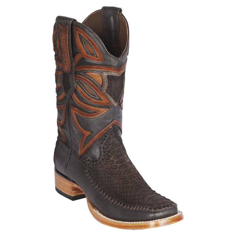 Los Altos Boots Mens #82FN5707 Wide Square Toe | Genuine Python & Deer Skin Boots | Color Brown Suede Finish