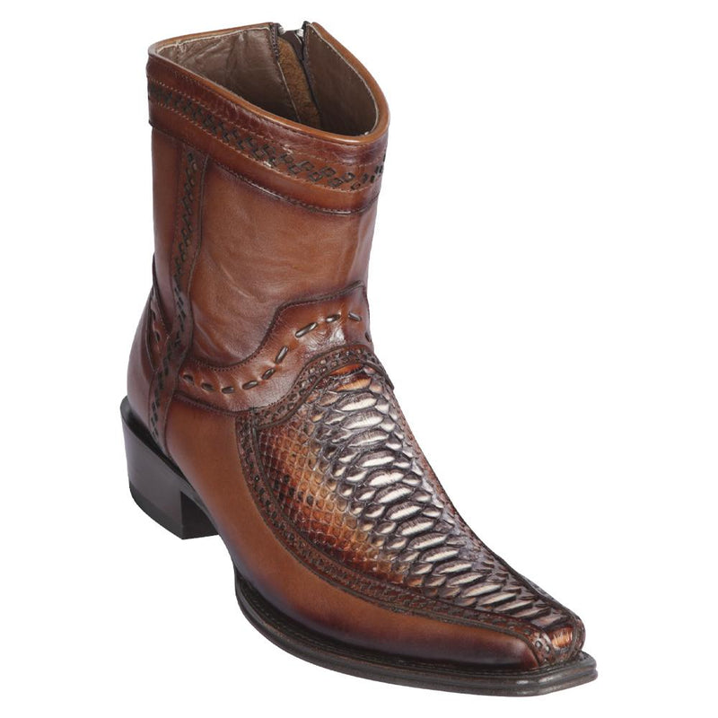 Los Altos Boots Mens #76BF5788 Low Shaft European Square Toe | Genuine Python And Deer Boots | Color Rustic Cognac