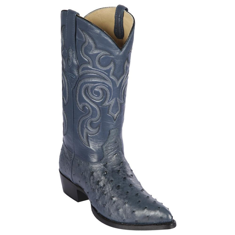 Los Altos Boots Mens #990314 J Toe | Genuine Full Quill Ostrich Boots | Color Blue Jean