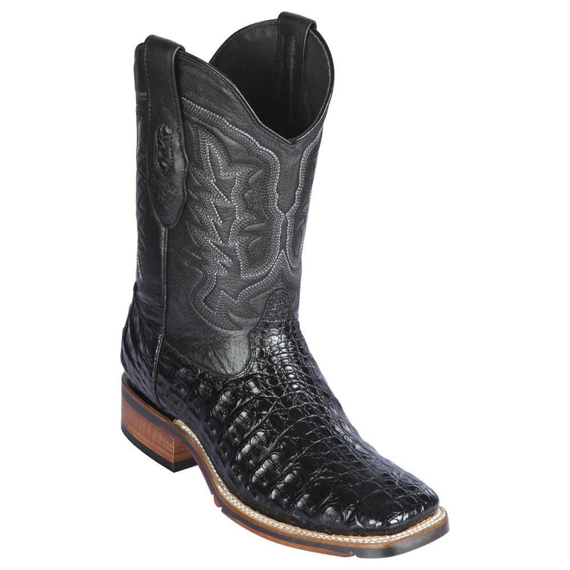 Los Altos Boots Mens #826A1805 Wide Square Toe | Genuine Caiman Flank Leather Boots | Color Black