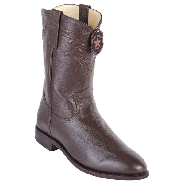 Los Altos Boots Mens #805107 Roper Style | Genuine Elk Leather Boots Handcrafted | Color Brown