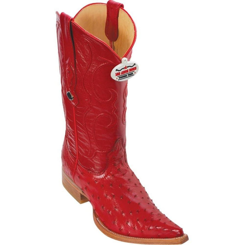 Los Altos Boots Mens #950312 3X Toe | Genuine Full Quill Ostrich Leather Boots | Color Red