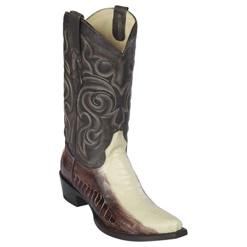 Los Altos Boots Mens #940577 Snip Toe | Genuine Ostrich Leg Boots | Color Winterwhite and Brown