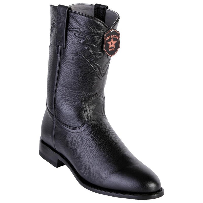 Los Altos Boots Mens #805105 Roper Style | Genuine Elk Leather Boots Handcrafted | Color Black