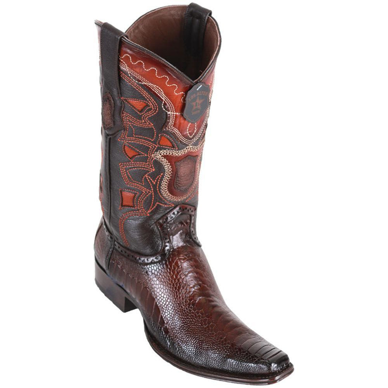 Los Altos Boots Mens #760516 European Square Toe | Genuine Ostrich Leg Boots | Color Faded Brown