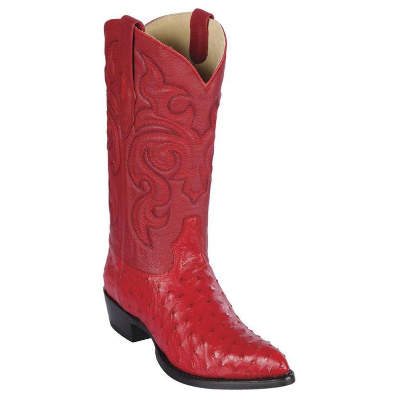 Los Altos Boots Mens #990312 J Toe | Genuine Full Quill Ostrich Boots | Color Red
