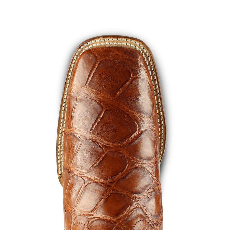 Los Altos Boots Mens #8225803 Wide Square Toe | Genuine  American Alligator skin Boots | Color Cognac