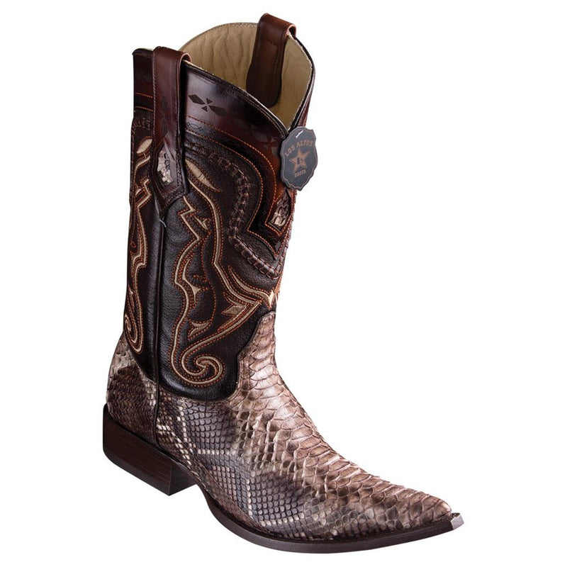 Los Altos Boots Mens #9535785 3X Toe | Genuine Python Leather Boots | Color Rustic Brown