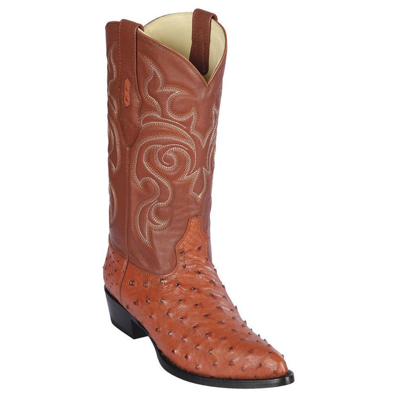 Los Altos Boots Mens #990303 J Toe | Genuine Full Quill Ostrich Boots | Color Cognac