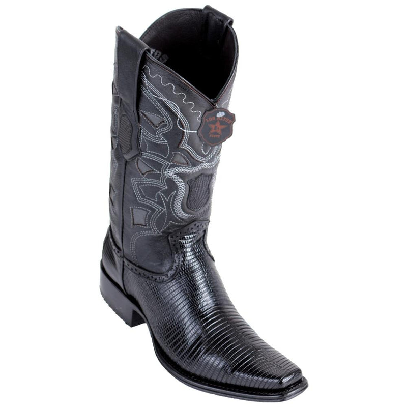 Los Altos Boots Mens #760605 European Square Toe | Genuine Lizard Leather Boots | Color Black