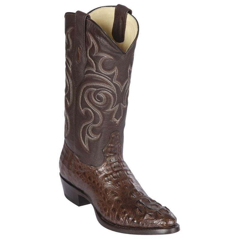 Los Altos Boots Mens #650207 Round Toe | Genuine Caiman Hornback Boots Handcrafted | Color Brown