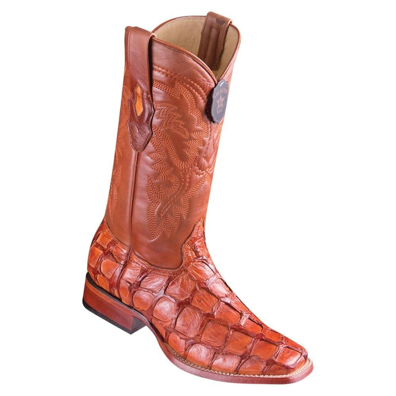 Los Altos Boots Mens #8221003 Wide Square Toe | Genuine Pirarucu Fish Boots | Color Cognac