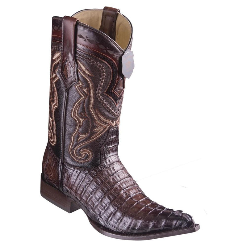 Los Altos Boots Mens #9530116 3X Toe | Genuine Caiman Belly Leather Boots | Color Faded Brown