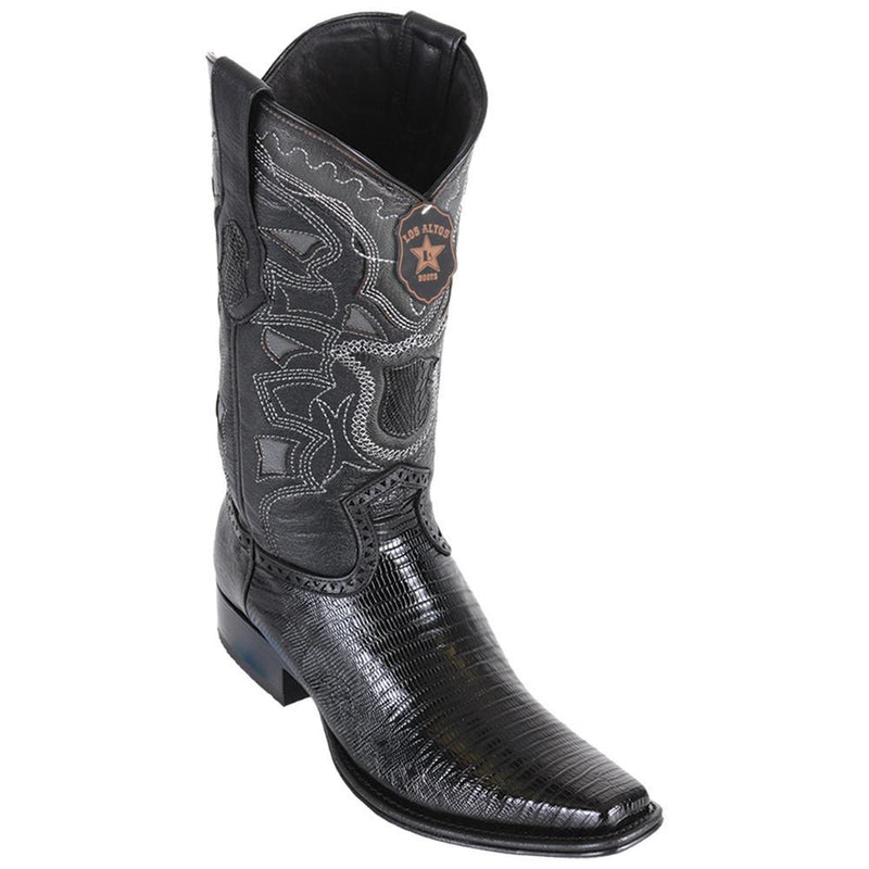 Los Altos Boots Mens #760705 European Square Toe | Genuine Teju Lizard Leather Boots | Color Black