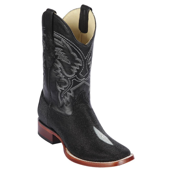 Los Altos Boots Mens #8221205 Wide Square Toe | Genuine Single Stone Stingray Leather Boots | Color Black