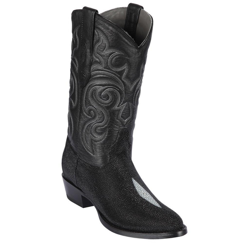 Los Altos Boots Mens #651205 Round Toe | Genuine Stingray Boots Full Single Stone Handmade | Color Black