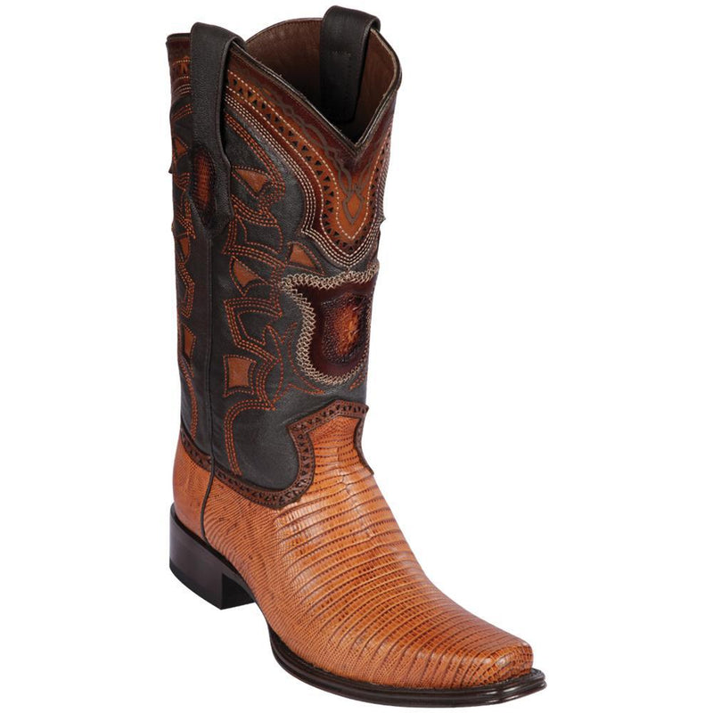 Los Altos Boots Mens #760751 European Square Toe | Genuine Teju Lizard Leather Boots | Color Honey