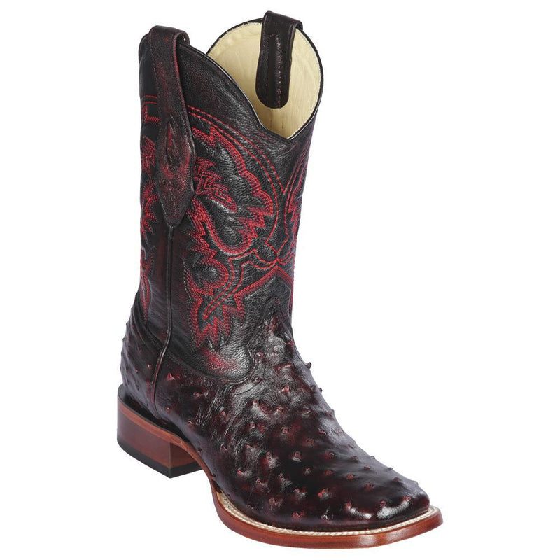 Los Altos Boots Mens #8220318 Wide Square Toe | Genuine Full Quill Ostrich Leather Boots | Color Black Cherry