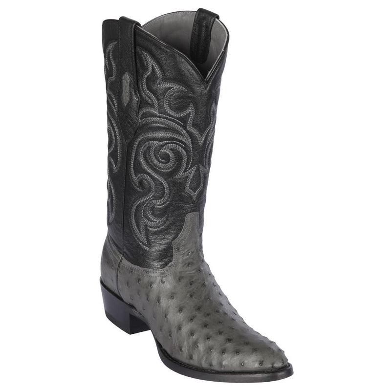 Los Altos Boots Mens #650309 Round Toe | Genuine Full Quill Ostrich  Boots Handmade | Color Gray