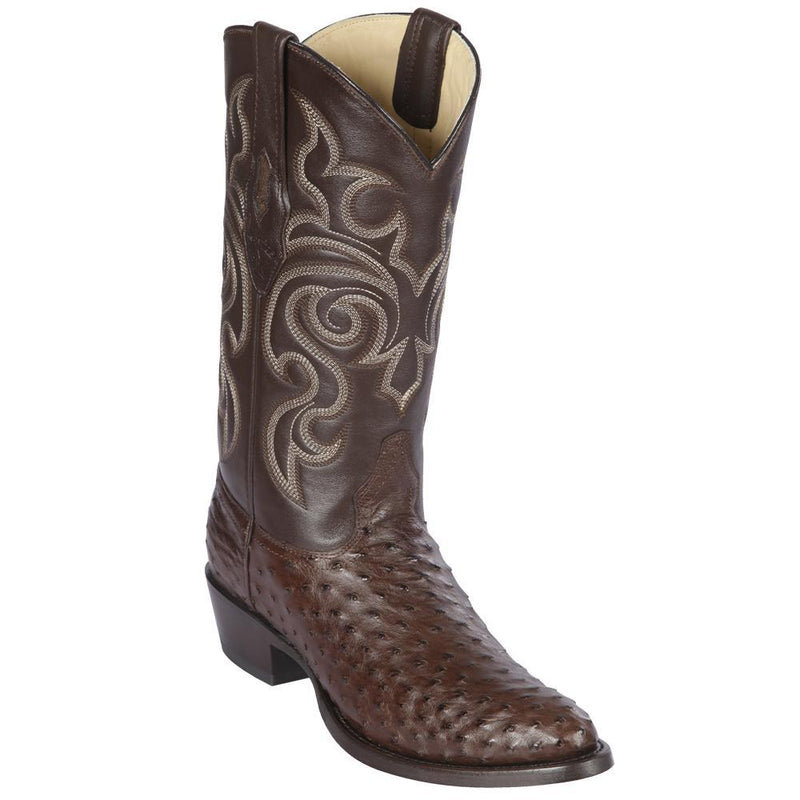 Los Altos Boots Mens #650307 Round Toe | Genuine Full Quill Ostrich  Boots Handmade | Color Brown