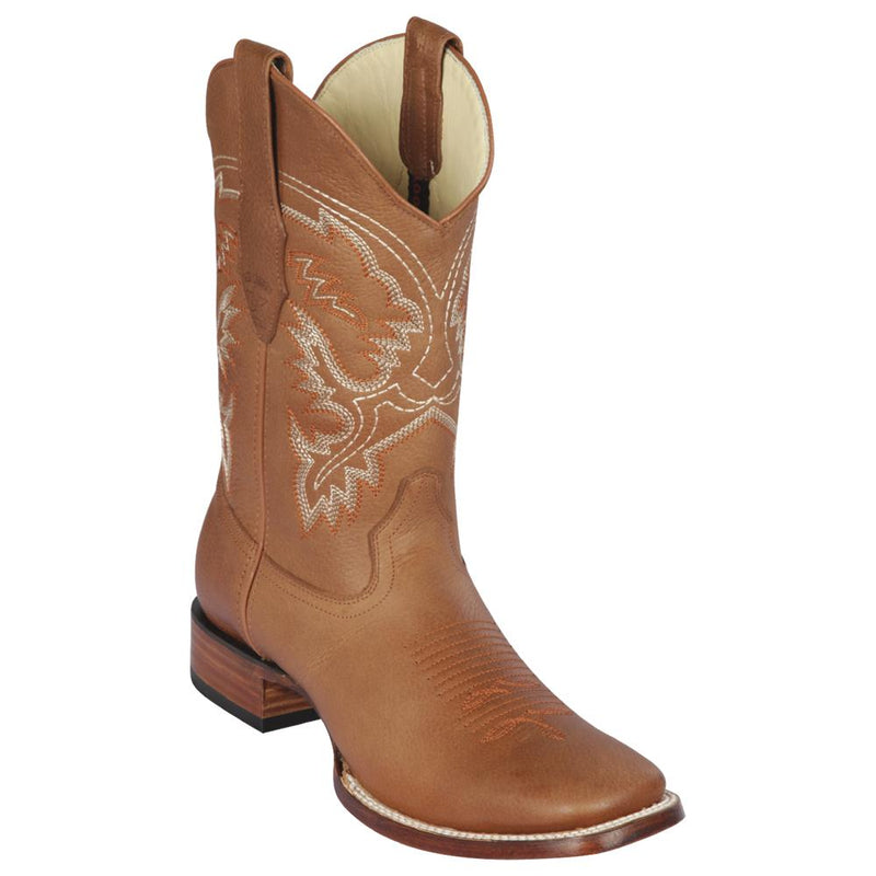Los Altos Boots Mens #8222751 Wide Square Toe | Genuine Grisly Leather Boots | Color Honey