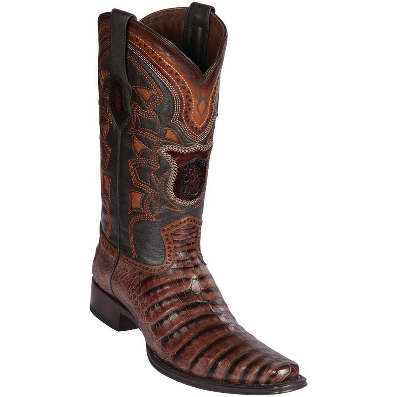 Los Altos Boots Mens #768266 European Square Toe | Genuine Caiman Belly Boots | Color Porto Brown