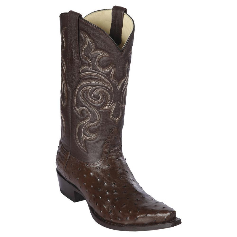 Los Altos Boots Mens #940307 Snip Toe | Genuine Full Quill Ostrich Boots | Color Brown