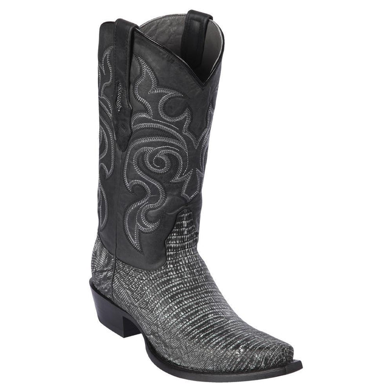 Los Altos Boots Mens #940774 Snip Toe | Genuine Teju Lizard Boots | Color Sanded Black