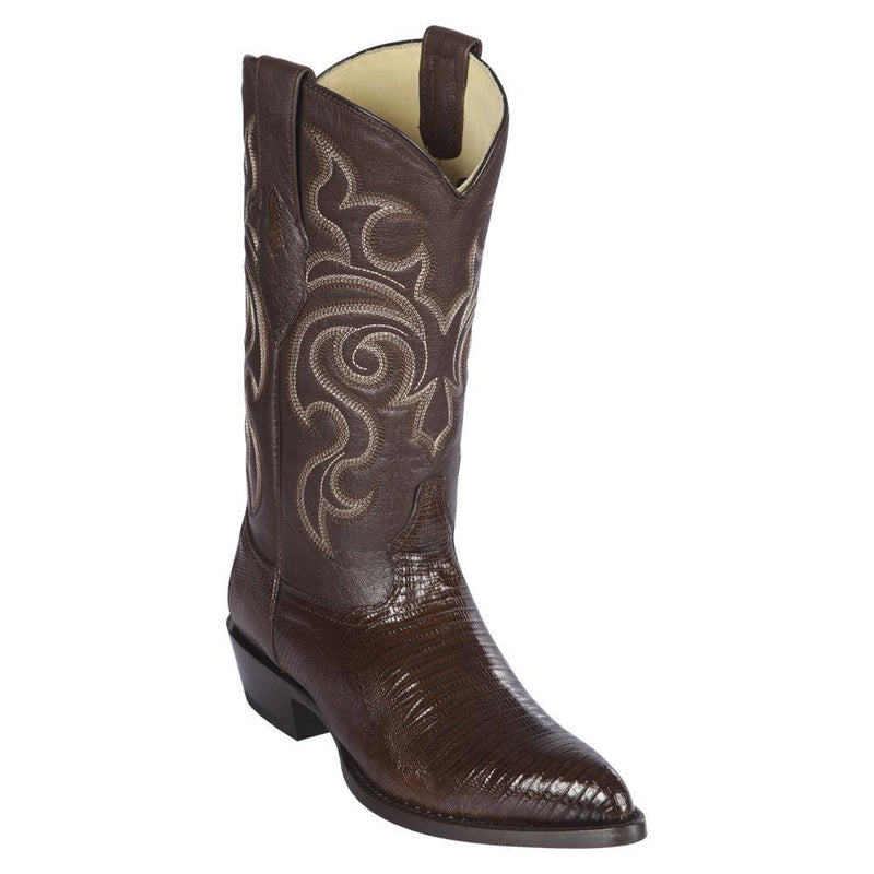 Los Altos Boots Mens #990707 J Toe | Genuine Teju Lizard Boots | Color Brown