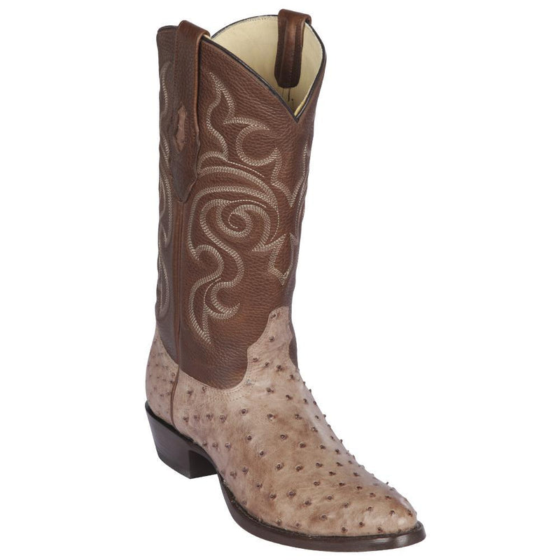 Los Altos Boots Mens #650372 Round Toe | Genuine Full Quill Ostrich  Boots Handmade | Color Moka