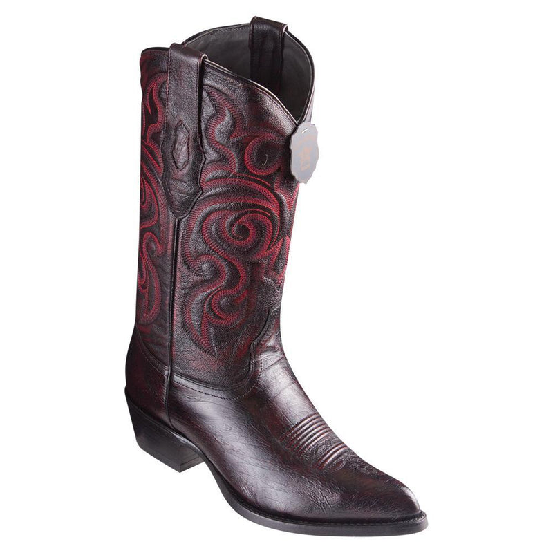 Los Altos Boots Mens #999718 J Toe | Genuine Smooth Ostrich Boots | Color Black Cherry
