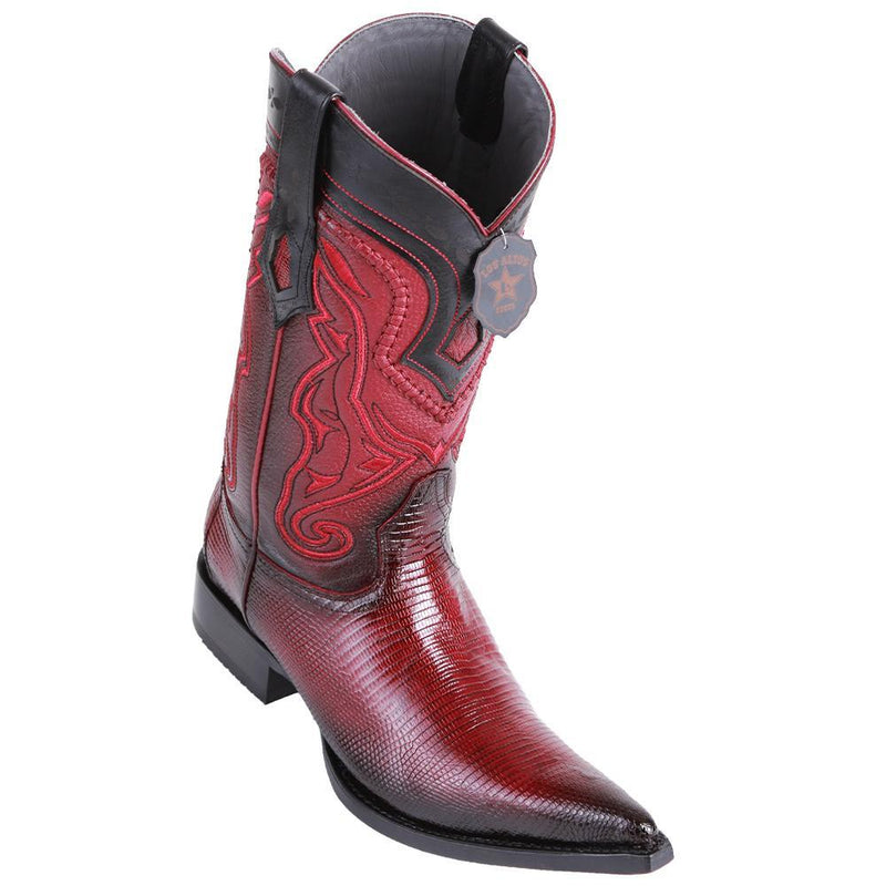 Los Altos Boots Mens #9530643 3X Toe | Genuine Lizard Leather Boots | Color Faded Burgundy