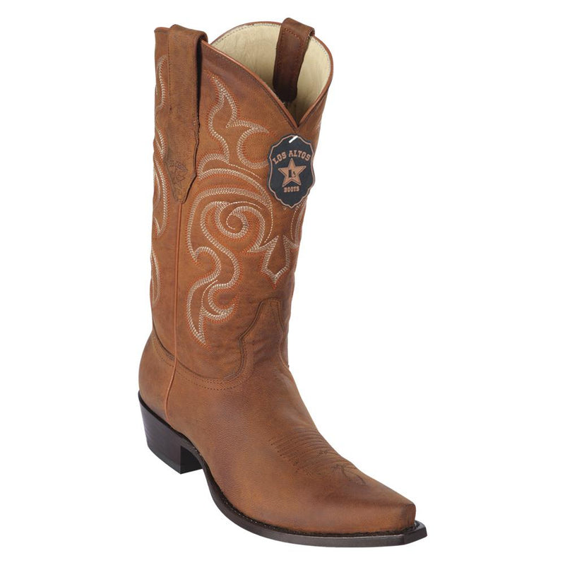Los Altos Boots Mens #942051 Snip Toe | Genuine Maddog Leather Boots | Color Honey