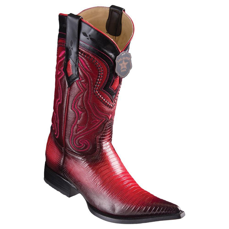 Los Altos Boots Mens #9530729 3X Toe | Genuine Teju Lizard Leather Boots | Color Faded Red