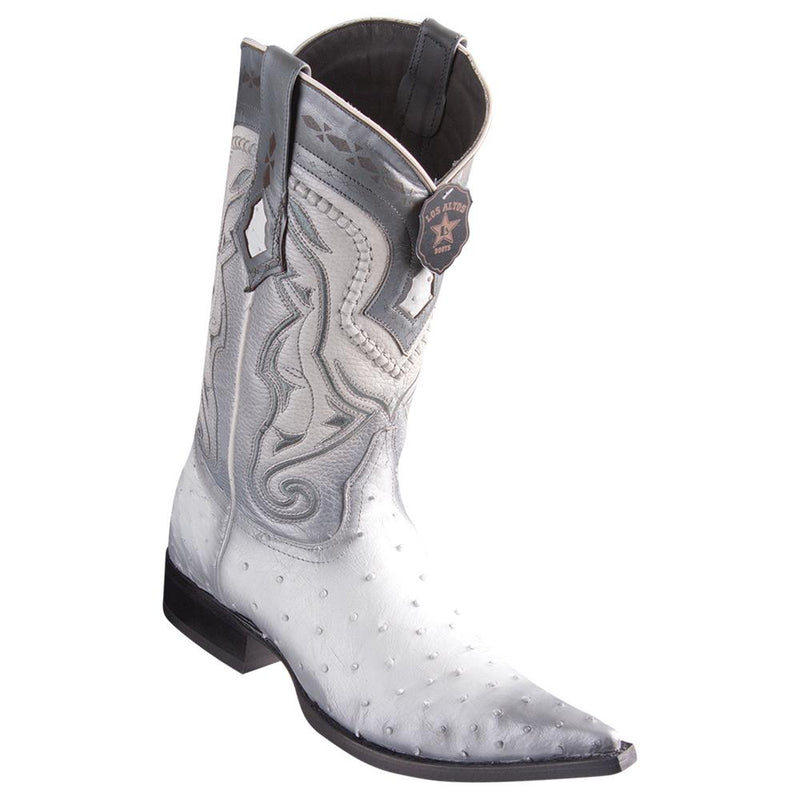 Los Altos Boots Mens #9530328 3X Toe | Genuine Ostrich Leather Boots | Color Faded White