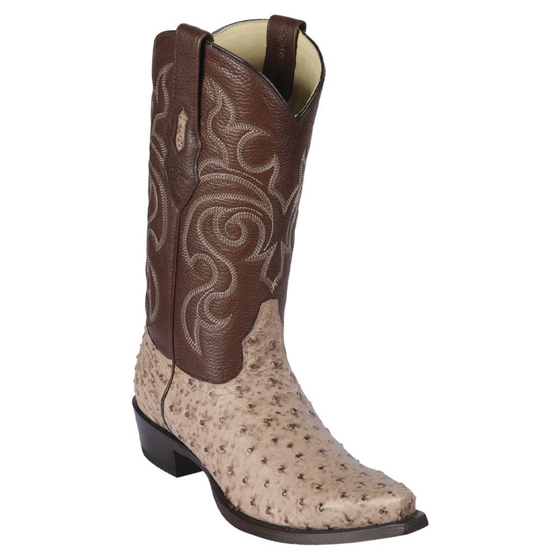 Los Altos Boots Mens #940372 Snip Toe | Genuine Full Quill Ostrich Boots | Color Moka