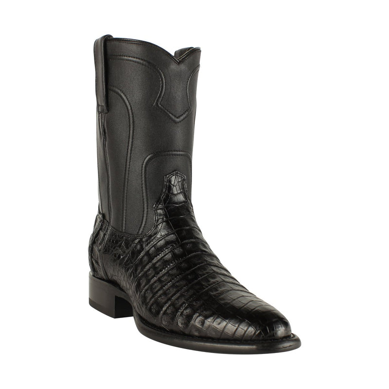 Los Altos Boots Mens #698205 Roper Style | Caiman Belly Boots Handcrafted | Color Black