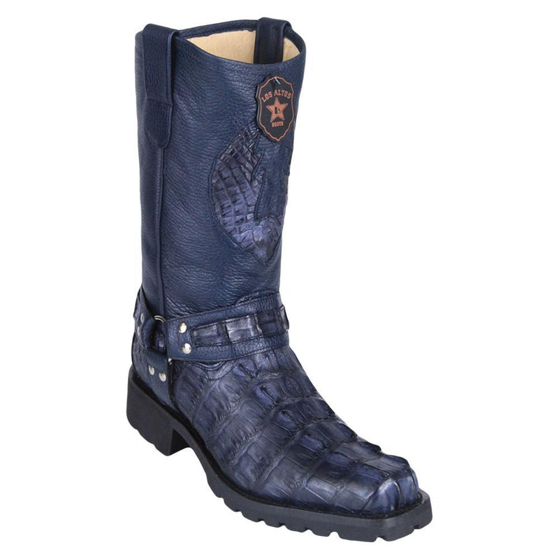 Los Altos Boots Mens #55T0110 Biker Boot | Genuine Caiman Tail Leather Boots | Color Navy Blue