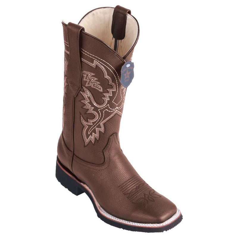 Los Altos Boots Mens #82E2707 Wide Square Toe | Genuine Grisly Leather Boots | Color Brown