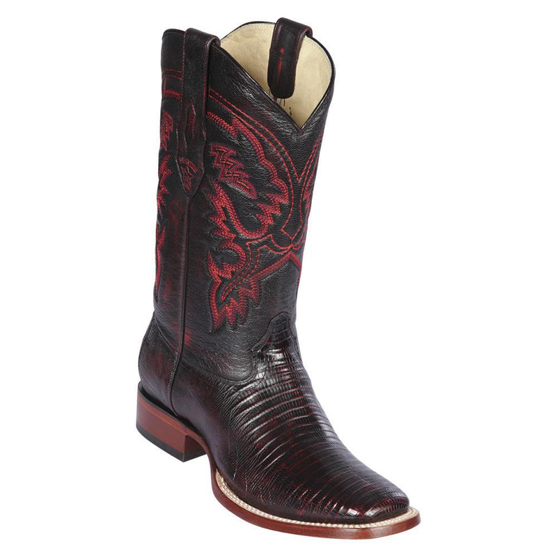 Los Altos Boots Mens #8220718 Wide Square Toe | Genuine Teju Lizard Leather Boots | Color Black Cherry